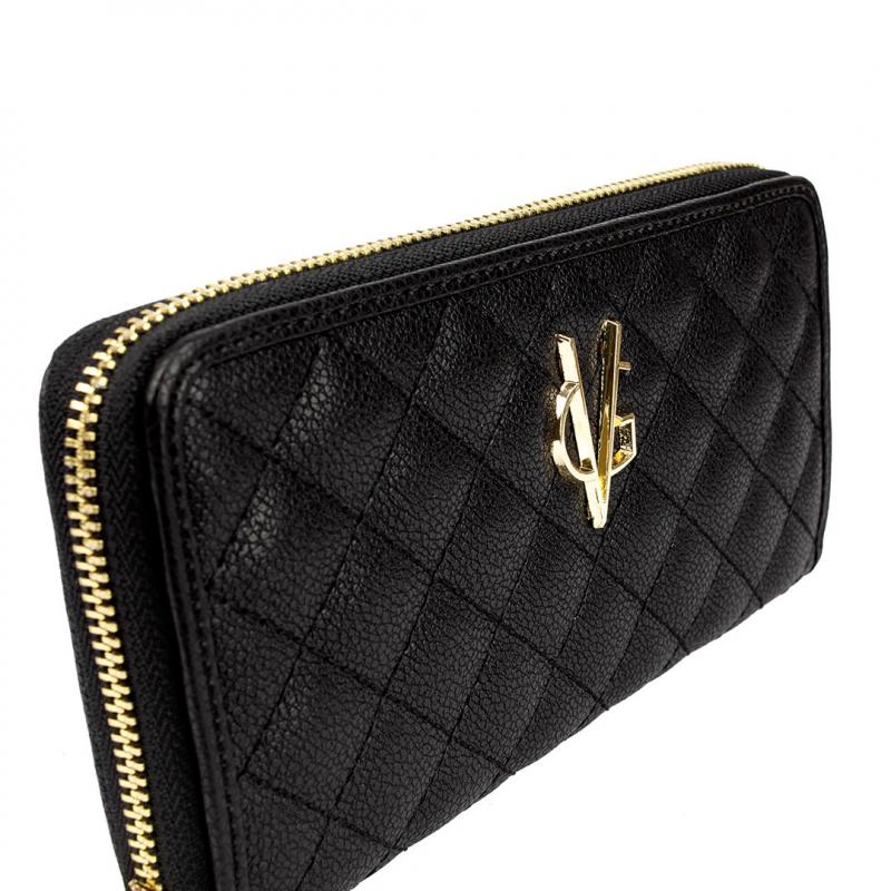 VG portafoglio trapuntato nero e logo gold