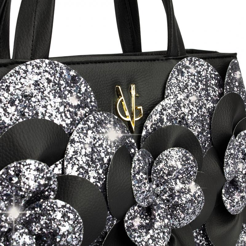 VG borsa Camelia piccola nera & glitter grigio