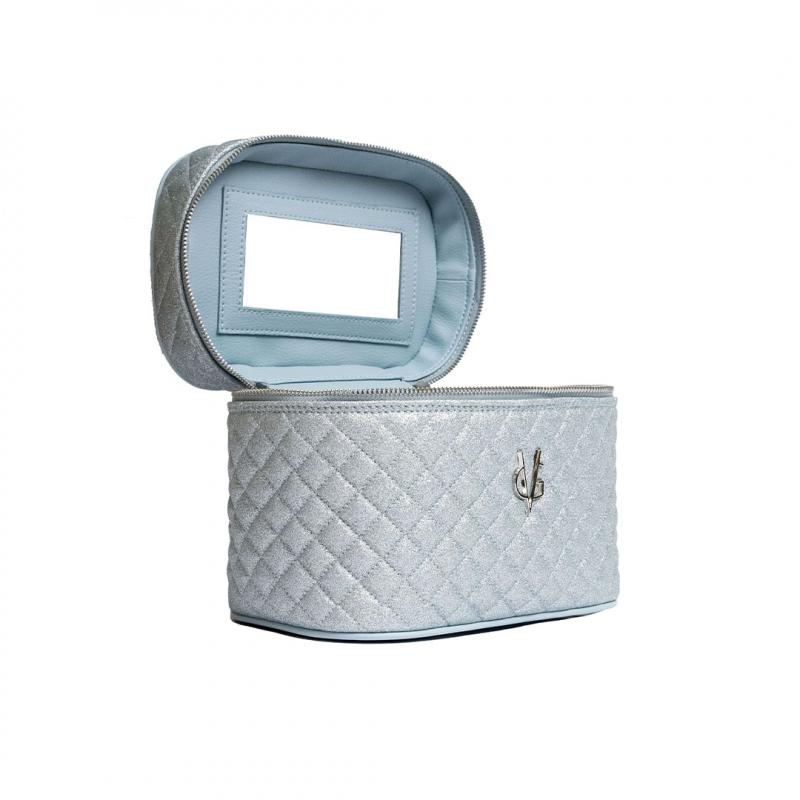 VG Beauty Case trapuntato glitter sottile azzurro dusty con specchio