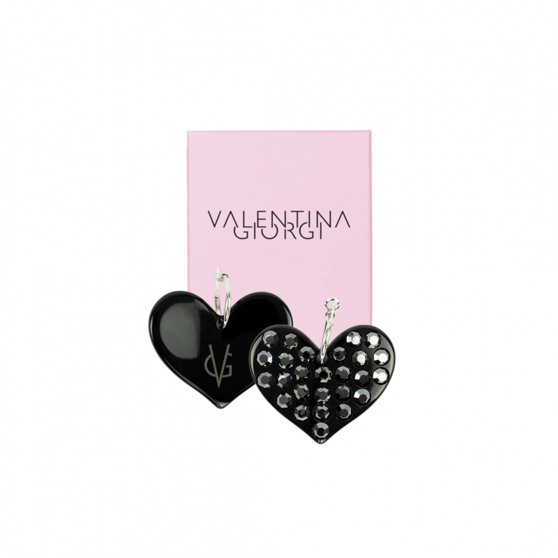 ❤️ VG Love-her! Orecchini a cerchio con cuore nero e cristalli ematite