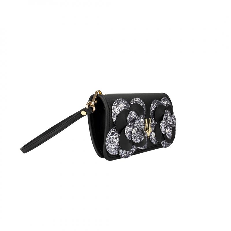 VG portafoglio Camelia nero & glitter grigio