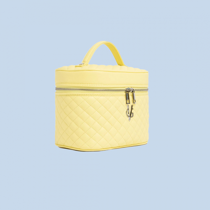 VG Beauty Case trapuntato giallo vanilla con specchio