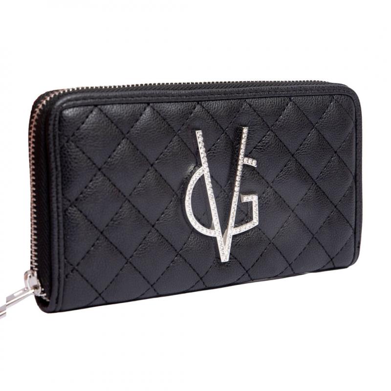 VG portafoglio trapuntato nero e logo in cristalli