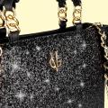 VG borsa a mano nera & glitter nero