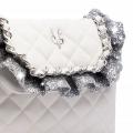 VG Borsa a tracolla trapunta bianca e frappa glitter