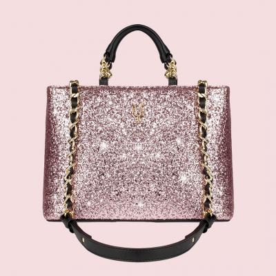VG borsa a mano nera & glitter rosa cipria