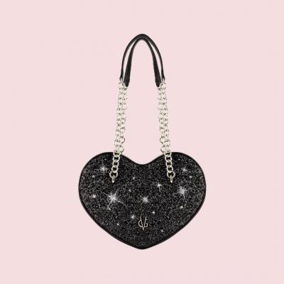 VG cuore grande glitter nero