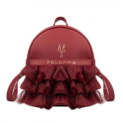 VG X FELEPPA - Zaino rouches in tulle lurex bordeaux