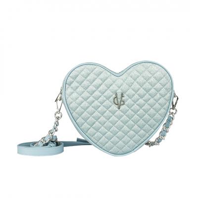 VG borsa cuore a tracolla glitter sottile trapuntato azzurro