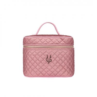 VG Beauty Case trapuntato glitter sottile rosa con specchio