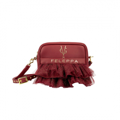 VG X FELEPPA - Mini saponetta rouches in tulle lurex bordeaux