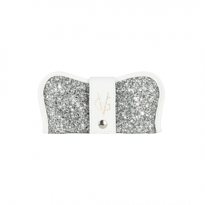 VG custodia porta occhiali bianca & glitter argento
