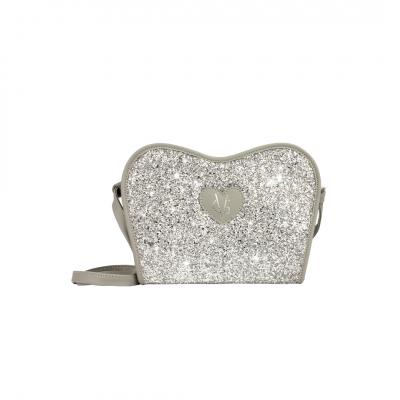 ❤️VG Low Cost-Too Chic borsa saponetta grande grigia & glitter argento