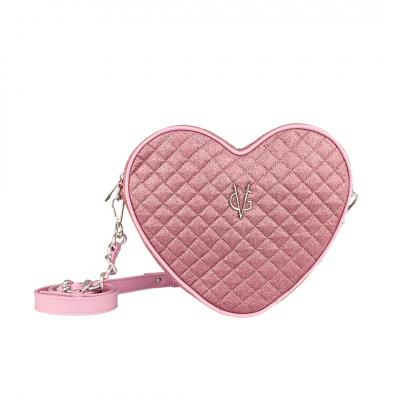 VG borsa cuore a tracolla glitter sottile trapuntato rosa