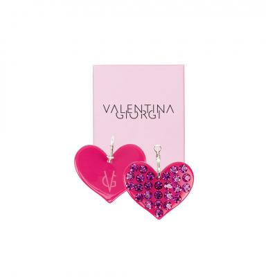 ❤️ VG Love-her! Orecchini a cerchio con cuore fucsia e cristalli fucsia