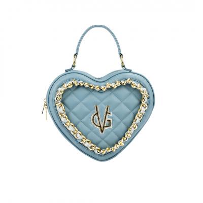 VG borsa media a cuore trapuntata carta da zucchero & catena glitter azzurro