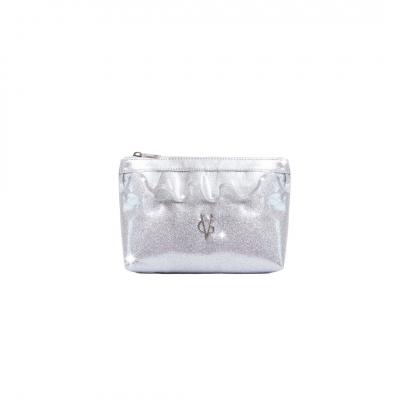 VG pochette mare con rouches e glitter argento
