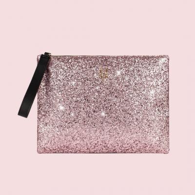 VG clutch nera & glitter rosa cipria