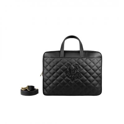 VG Porta pc trapuntato nero & logo glitter nero