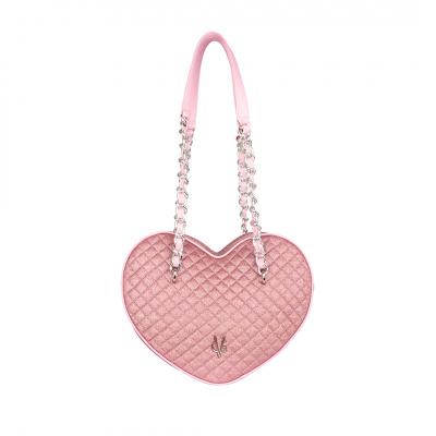 VG borsa cuore grande a spalla glitter sottile trapuntato rosa