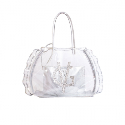 VG borsa mare trasparente con rouches e glitter argento