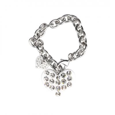 ❤️VG bracciale con cuori bianchi e cristalli diamante