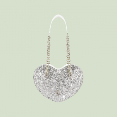 VG cuore grande glitter argento