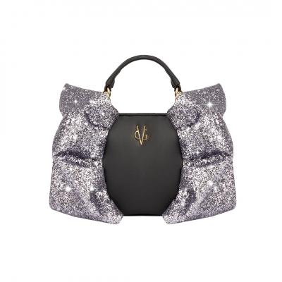 VG borsa caramella piccola nera & glitter grigio